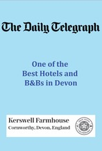 Kerswell Farmhouse B&B is recommended by the Daily Telegraph as on of the Best Hotels and B&Bs in Devon